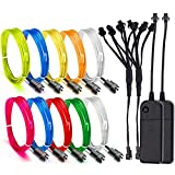 EL Wire, ESCOLITE EL Wire Kit Neon Lights Battery Pack Christmas Tree,Easter Halloween DIY Decoration,Home Deco 5 1-Meter, 1m / 3ft (2 Pack,8 Colors-BWPGRYLO)