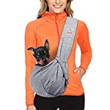 MRELEC Small Cat Pet-Dog-Carrier-Sling-Backpack Front Pack Purse Puppy Shoulder Bag Snuggle Dog Travel Pouch Outdoor Riding Tote for Men Girl (Gray)