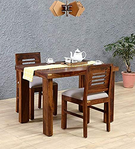 Unique Furniture Solid Wood 2 Seater Dining Table Set with 2 Chairs for Dining Room (Sheesham Wood, Honey Finish)
