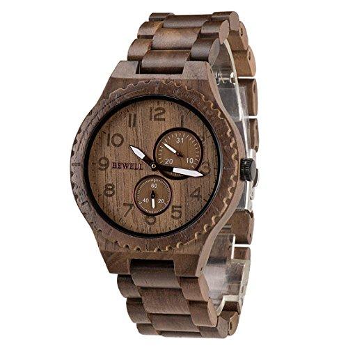 BEWELL Orologio in legno W154A, orologio da polso in legno naturale con orologio da polso stile retr...