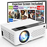 TMY Projector 7500 Lumens with 100 Inch Projector Screen, 1080P Full HD Supported Video Projector, Mini Movie Projector Compatible with TV Stick HDMI VGA USB TF AV, for Home Cinema & Outdoor Movies.