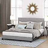 FURINNO Laval Button Tufted Upholstered Platform Bed - California King (Glacier)