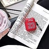 Auricular de la caja, Chicago Bulls 23 Jordan suave de silicona for auriculares del caso for AirPods 2 de Apple Protección inalámbrica Bluetooth Headset vainas cubierta for el aire ( Color : Rojo )