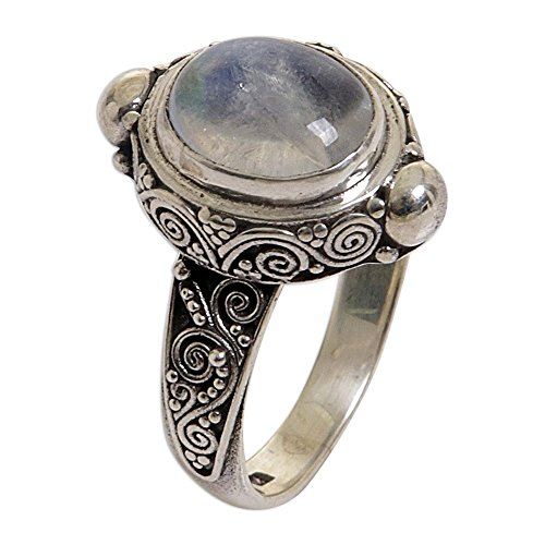 NOVICA Oval Rainbow Moonstone .925 Sterling Silver Cocktail...