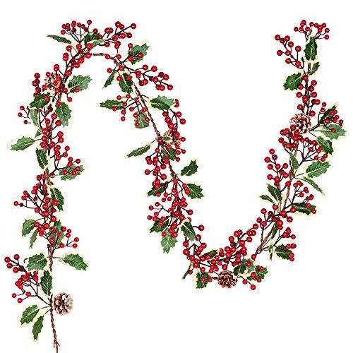 YQing 1 Pieza Guirnalda de Bayas Rojas Artificiales, Acebo Artificial de Guirnalda Navidad Decoracion para Vacaciones Navidad año Nuevo Decoración