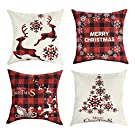 Mimacoo 20x20 Christmas Throw Pillow Covers, Decorative Outdoor Farmhouse Merry Christmas Xmas Christmas Tree Pillow Shams Cases Slipcovers Set of 4 for Couch Sofa
