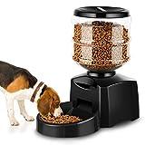 Amzdeal Comedero Automático Gatos y Perros 5.5L, Alimentador de Mascotas con Pantalla LCD, Dispensador con Función de Grabación