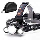 Headlamp,Cobiz Brightest High 6000 Lumen LED Work Headlight,18650 USB Rechargeable IPX4 Waterproof Flashlight with Zoomable Light,Head Lights for Camping, Hiking, Outdoors,Best Gifts