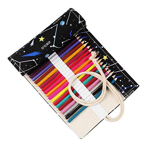 IWILCS Matita in tela a 48 fori, matita per costellazione, custodia per organizer per matita, matite avvolgibili, astuccio per matite, organizzatore per rotolo con portamatite colorate