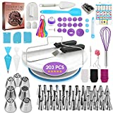 203 PCs Cake Decorating Supplies Kit for Beginners-1 Turntable stand- Cake server & knife set-48 Numbered Easy to use icing tips with pattern chart and E.Book-7 Russian Piping nozzles -2 Spatulas