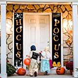 Whaline Hocus Pocus Halloween Banner Indoor/Outdoor Decorative Hanging Sign for Home Office Front Door Porch Welcome Halloween Decorations