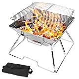 Odoland Folding Campfire Grill, Camping Fire Pit, Outdoor Wood Stove Burner, 304 Premium Stainless Steel, Portable Camping Grill with Carrying Bag for Outdoor Backpacking Hiking BBQ