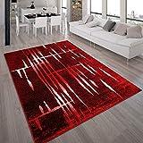 Tapis Design Moderne Poil Court Trendy Rouge Crème Moucheté, Dimension:120x170...