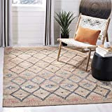 Safavieh KLM753A-4 Kilim Collection KLM753A Natural and Blue Premium Wool (4' x 6') Area Rug