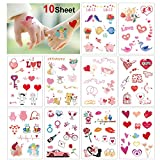 HOWAF 10 sheet Medium Wedding Couples Temporary Tattoos for Adults Women Girls Rose Flower Lips Cat Love Hearts Owl Pig Temporary Tattoos Stickers for Wedding Valentine's Day Favors Accessories
