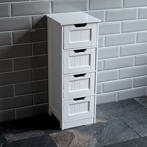 Home Discount 4 cassetti, da Bagno con Supporto a Pavimento e armadietto di Legno, Colore: Bianco
