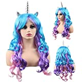 KASTE Women Princess Rainbow Unicorn Wig Long Curly Hair Wigs Halloween Party Cosplay (QY-6971)