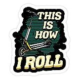 Lplpol 3 pegatinas lindas y divertidas con texto en inglés 'This is How I Roll Scooter - 4 pulgadas troqueladas para la pared del ordenador portátil, ventana, coche, parachoques, botella de agua