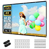 Projector Screen 120 inch, Taotique 4K Movie Projector Screen 16:9 HD Foldable and Portable Anti-Crease Indoor Outdoor Projection Double Sided Video Projector Screen for Home, Party, Office, Classroom