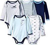 Luvable Friends Unisex Baby Cotton Long-Sleeve Bodysuits, Airplane, 0-3 Months