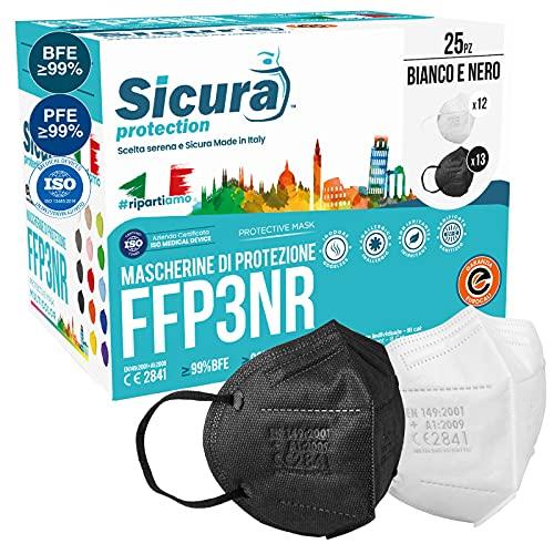 25 Mascherine FFP3 Certificate CE Nere e Bianche Made in Italy BFE ≥99% | PFE ≥99% logo SICURA impresso Mascherina...