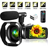 4K Video Camera Ultra HD Camcorder 48.0MP IR Night Vision Digital Camera WiFi Vlogging Camera with External Microphone and Lens Hood, 3 in Touch Screen