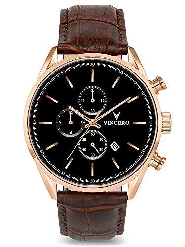 Vincero Herren Chrono S Chronograph Quarz Uhr Mit Lederband - Roségold