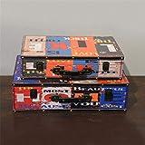 Cajas de almacenaje Antiguo portátil de Madera Maleta Tienda de Ropa La fotografía apoya Ventana Decoración Adornos Cajas de Almacenamiento (Color : C, Size : 2pcs)