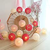 Guirlande Lumineuse d'intérieur avec 20 boules en coton fonctionnant sur...