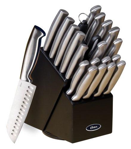 Oster 70562.22 Baldwyn bloque de cuchillos de 22 piezas, cepillado satinado