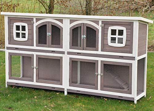 nanook Murmel XXL Doppel Kaninchenstall Hasenstall - doppelstöckig - wetterfest - 211 x 52 x 107 - Farbe: Taupe/Weiss - extra großes Kanninchengehege
