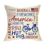 FBCOO July 4th America Throw Pillow Cover, Patriotic Cushion Case Sign Baseball Fireworks BBQ Hot...