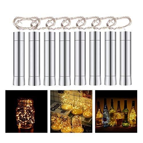 Herefun 8x20 LED Luci per Bottiglie, Luce Bottiglia Bianco Caldo, Notturna Luce Bottiglia Tappo del Vino Bottiglia Fata Luci String, LED per la Decorazione Della Bottiglia Riunirsi, Festa, Matrimonio