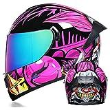 Men's and Women's Motorcycle Full Helmet Double Lens Electric Motorcycle Helmet Off-Road Helmet Four Seasons General DOT Engineering Certification,Pink Clown (Color Mirror),M