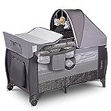 Lionelo Sven Plus boîte 2 en 1 lit bébé lit bébé table à langer jouets baldaquin suspendu avec moustiquaire entrée latérale supplémentaire rouleaux mobiles système LockGuard, gris