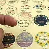 BLOUR 96 Piezas 3 cm Pegatina de Boda Transparente Personalizada Sus Nombres y Fecha Boda Compromiso Aniversario Etiquetas Redondas de favores de Fiesta