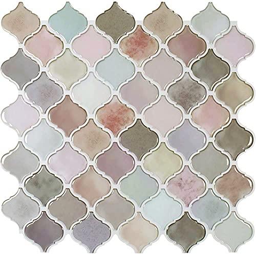 "STICKGOO Pink Arabesque Peel and Stick Tile, 12""X12""..."