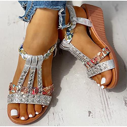 DZQQ Sandales pour Femmes été bohême Plate-Forme compensées Chaussures Cristal Gladiateur Rome Femme Chaussures de Plage décontracté Bande élastique Femme