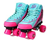 Kandy-Luscious Kid's Roller Skates - Comfortable Children's Skates with Fun Colors & Designs | Summer Days Teal and Pink | Size 12 Junior