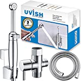 Cloth Diaper Sprayer for Toilet and Handheld Bidet Toilet Sprayer, Bathroom Bidet Attachment Toilet Bidet Jet Spray Solid Brass Polished Chrome -Easy to Install and Multi Spray Water Mode