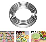 5 Pcs Stainless Steel Cookie Biscuit Cutter Set, Pastry Donut Doughnut Cutter Set Round Cookie Cutters Circle Baking Small Ring Molds (5PCS Plain Edge)