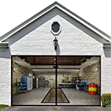 Garage Door Screen for 1 Car Garage Doors 8x7FT- Reinforced Fiberglass Door Screen,Stronger 1400g(3.12LB) High Energy Magnets ,Hands Free Magnetic Screen Door
