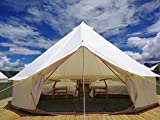Outdoor Family Camping Safari Glamping Tent Waterproof Luxury 3/4/5/6M Yurt Bell Tent with Mosquito Screen (Off White Oxford Tent, 4M Bell Tent)