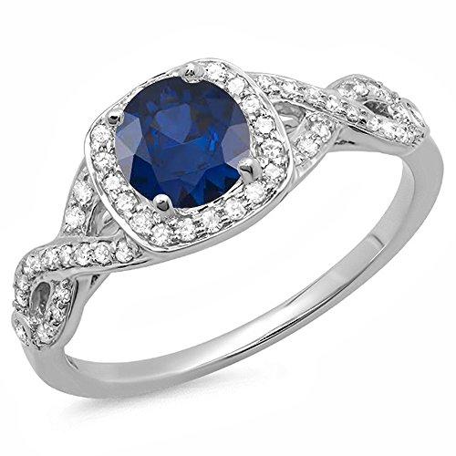 DazzlingRock Collection 14K Oro Azul Zafiro y Blanco Diamond Swirl Dividir Vástago de Halo Anillo de Compromiso