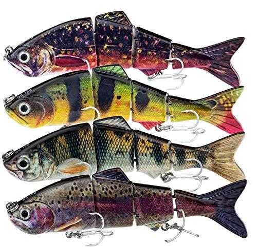 FISHINGGHOST Set di Caramelle per Esche, Lunghezza: 12/15cm, Peso: 18/35 Grammi, Esche Artificiali di Swimbait/Esche da Pesca/wobbler per la Pesca di Pesci Predatori Come Lucci, persici, trote (4x)