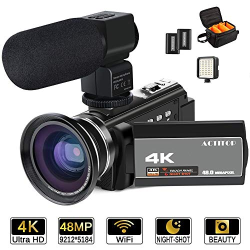 Videocamera 4K, ACTITOP 48MP full hd 1080p wifi IR Night Vision Videocamera con zoom digitale 16X...