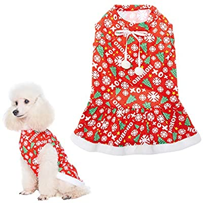 Size:S: NECK GIRTH: 9.5in, CHEST GIRTH: 13-15in, BACK LENGTH: 10in. Please measure your dog's neck, chest and back before purchase. Amazing Christmas Design. Cute bow with pompoms, soft plush lace and neat stitching cuff. This will be the best Christ...