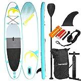 Nemaxx Stand Up Paddle Gonflable 320x78x15 cm, Turquoise/Jaune - Sup, Planche de Surf Gonflable et Facile à Transporter - Sac de Voyage, pagaie, aileron, Pompe à air, kit de réparation, Laisse