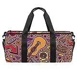 Bolsa deportiva de 45,72 cm, bolsa de viaje con compartimento de bolsillo húmedo para hombres y mujeres, ligera, patrón de notas musicales de piano