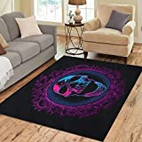 Semtomn Area Rug 5' X 7' Blue Black Screaming Skull in Mirror Purple Bloody Mary Home Decor Collection Floor Rugs Carpet for Living Room Bedroom Dining Room